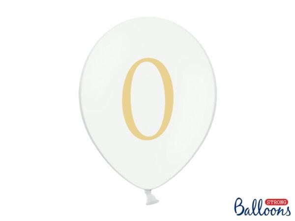 """Μπαλόνι Λευκό Παστέλ """"0"""" Χρυσό 1τεμ. 30εκ."""