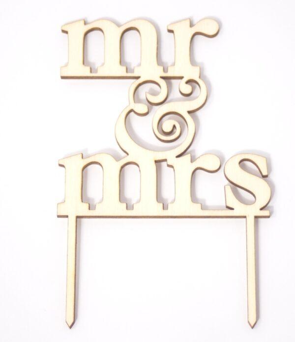 Ξύλινο Topper Τούρτας Mr & Mrs