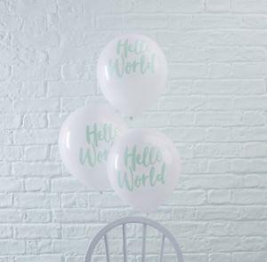 """Μπαλόνια """"Hello World"""" Λευκά με Μέντα 10τεμ."""