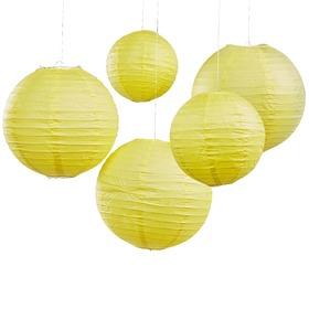 Χάρτινες Διακοσμητικές Μπάλες Boho κίτρινες 5τεμ.