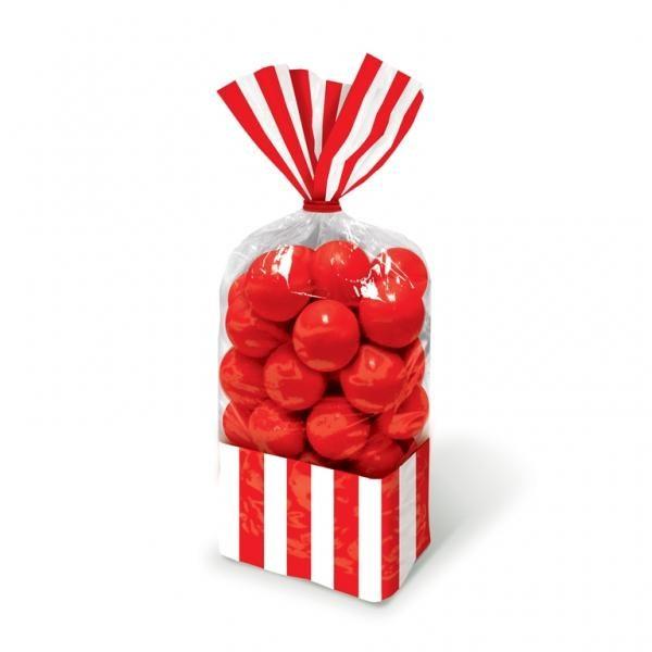 Σακούλες νάυλον 27,3x8,3εκ. κόκκινες ριγέ 10τεμ.