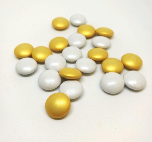 """Κουφέτο RONDO BEBE """"εορταστικό"""" χρυσό μεταλλιζέ-λευκό περλέ 500γρ."""