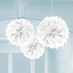 Fluffy Διακοσμητικό Λευκό 40.6cm 3τεμ..