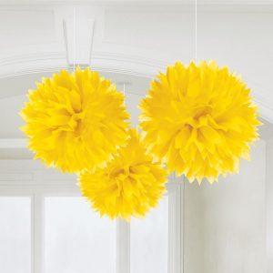 Fluffy Διακοσμητικό Κίτρινο 40.6cm 3τεμ..