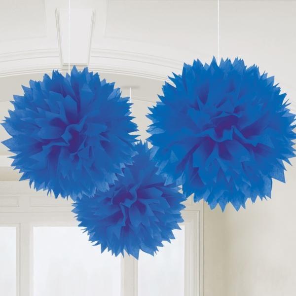 Fluffy Διακοσμητικό Μπλε 40.6cm 3τεμ.