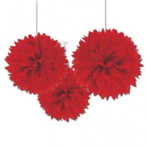 Fluffy Διακοσμητικό Κόκκινο 40.6cm 3τεμ..