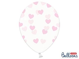 Μπαλόνι Διάφανο με Ροζ Καρδιές 1τεμ. 30εκ.