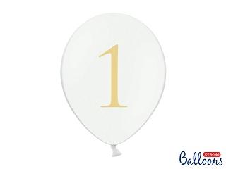"""Μπαλόνι Λευκό Παστέλ """"1"""" Χρυσό 1τεμ. 30εκ."""