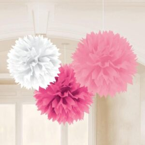 Fluffy Διακοσμητικό Ροζ-Φούξια-Λευκό  40.6cm 3τεμ.