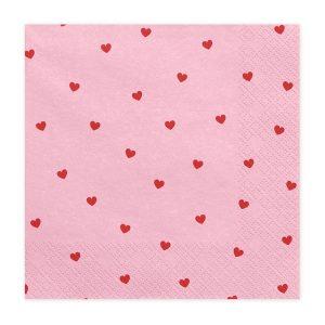 Χαρτοπετσέτες Ροζ με Κόκκινες Καρδούλες 20 τεμ.
