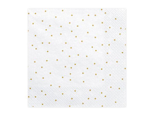 Χαρτοπετσέτες Λευκές Πουά με Χρυσές Βούλες 20 τεμ.