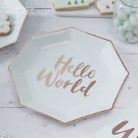 """Πιάτα Χάρτινα Φαγητού """"Hello World"""" Μέντα με Ροζ Χρυσό 8τεμ."""