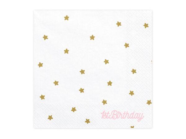 Χαρτοπετσέτες Αστεράκια Λευκό Ροζ για Πρώτα Γενέθλια 20 τεμ.