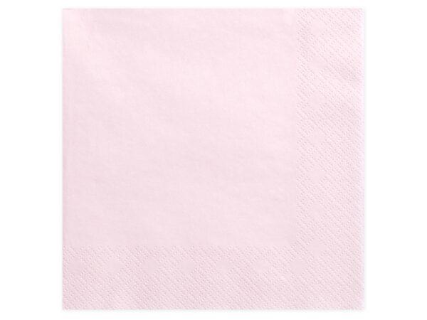 Χαρτοπετσέτες Ροζ Παστέλ Μονόχρωμες 20 τεμ. 40 x 40 εκ.