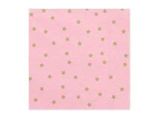 Χαρτοπετσέτες Ροζ με Χρυσά Αστεράκια 20 τεμ.