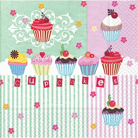 """Χαρτοπετσέτες Decoupage """"Cupcakes"""" 33Χ33εκ"""