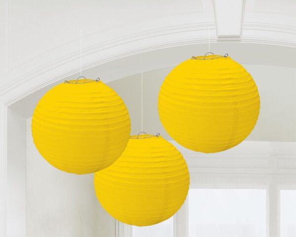 Χάρτινη Διακοσμητική Μπάλα Κίτρινη 3τεμ.