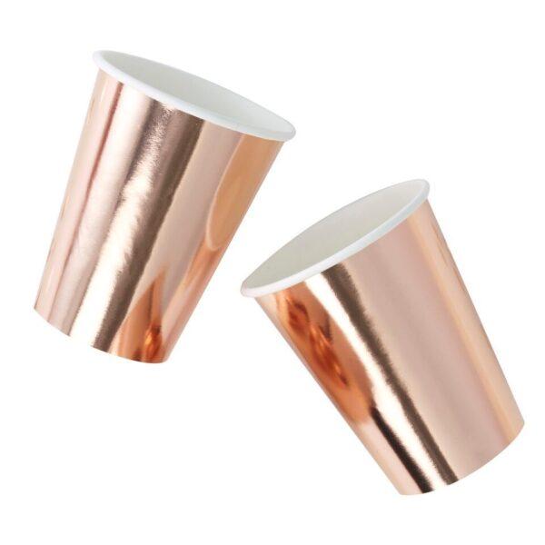 Ποτήρια Χάρτινα Ροζ Χρυσό 250ml 8τεμ.
