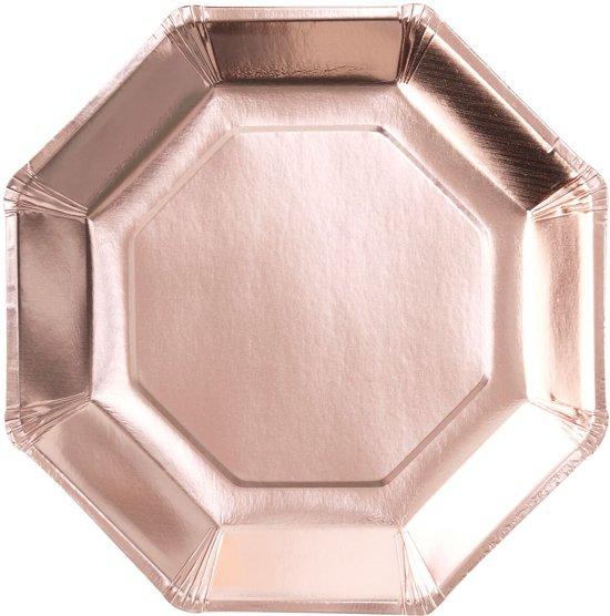 Πιάτα Χάρτινα Φαγητού Ροζ Χρυσό 8τεμ.