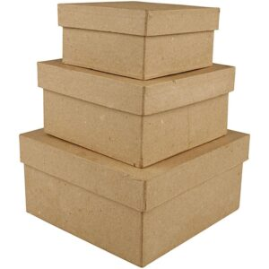 Tετράγωνο κουτί papier-mache 3 τεμ.