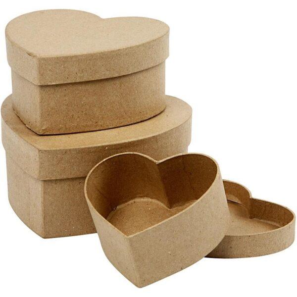 Κουτιά Καρδιά Papier Mache, 3τεμ.