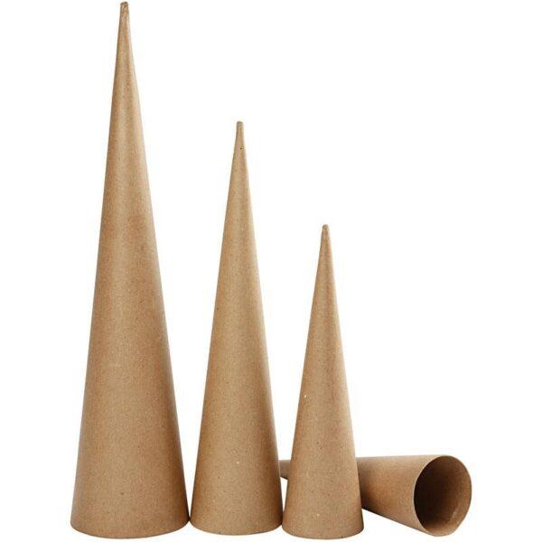 Κώνοι Papier Mache Ύψος 30-40-50cm Διάμετρος 8-9-11,5cm 3τεμ
