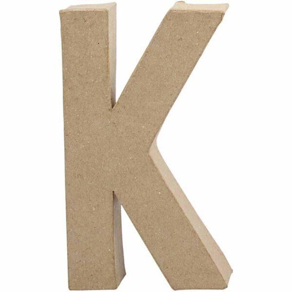 Γράμμα K μικρό papier-mache Yψος 10,5 cm Πάχος 2 cm