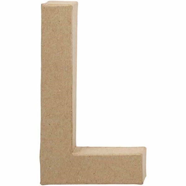 Γράμμα L μικρό papier-mache Yψος 10,5 cm Πάχος 2 cm