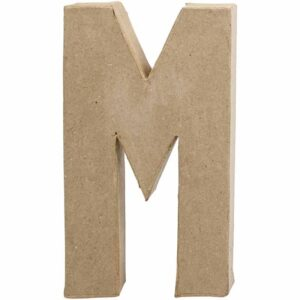 Γράμμα M μικρό papier-mache Yψος 10,5 cm Πάχος 2 cm