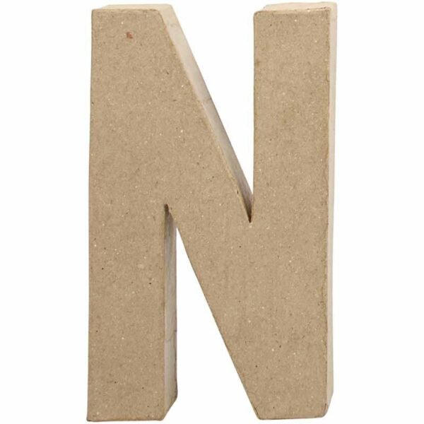 Γράμμα N μικρό papier-mache Yψος 10,5 cm Πάχος 2 cm