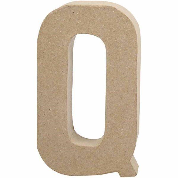 Γράμμα Q μικρό papier-mache Yψος 10,5 cm Πάχος 2 cm