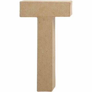 Γράμμα T μικρό papier-mache Yψος 10,5 cm Πάχος 2 cm