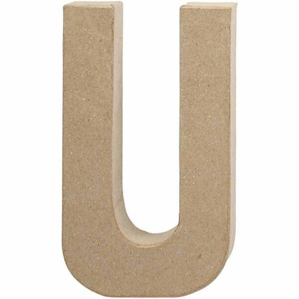 Γράμμα U μικρό papier-mache Yψος 10,5 cm Πάχος 2 cm