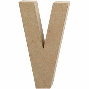 Γράμμα V μικρό papier-mache Yψος 10,5 cm Πάχος 2 cm