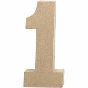 Aριθμός 1 μεγάλος papier-mache Yψος 20,5 cm Πάχος 2,5 cm