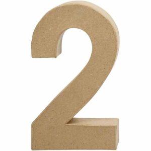 Aριθμός 2 μικρός papier-mache Yψος 10 cm Πάχος 2 cm