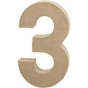 Aριθμός 3 μεγάλος papier-mache Yψος 20,5 cm Πάχος 2,5 cm