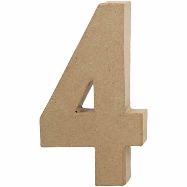 Aριθμός 4 μικρός papier-mache Yψος 10 cm Πάχος 2 cm