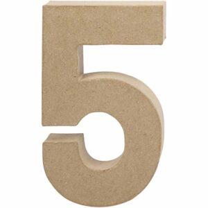 Aριθμός 5 μικρός papier-mache Yψος 10 cm Πάχος 2 cm