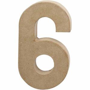 Aριθμός 6 μικρός papier-mache Yψος 10 cm Πάχος 2 cm