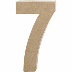 Aριθμός 7 μικρός papier-mache Yψος 10 cm Πάχος 2 cm