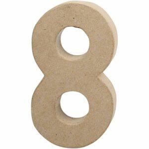 Aριθμός 8 μικρός papier-mache Yψος 10 cm Πάχος 2 cm