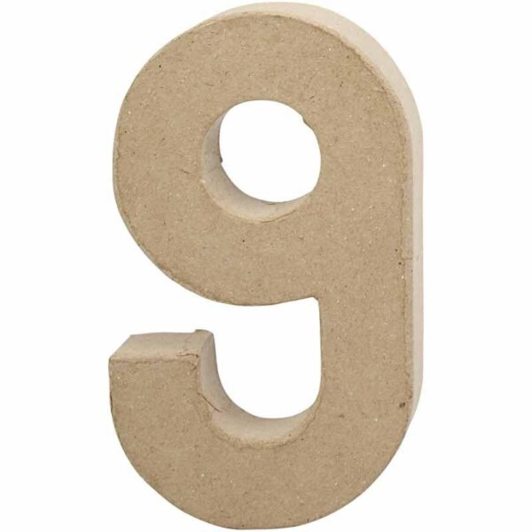 Aριθμός 9 μικρός papier-mache Yψος 10 cm Πάχος 2 cm