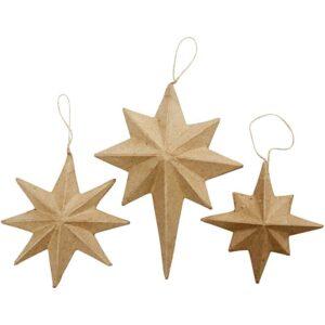 Χριστουγεννιάτικα στολίδια pappier mache αστέρια 6τεμ.