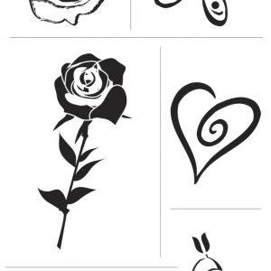 Σφραγίδες CLEAR Καρδιές/Τριαντάφυλλα 2-6εκ. 6τεμ.