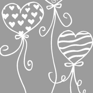 Σφραγίδα Mπαλόνια σε σχήμα καρδιά 5x8εκ.