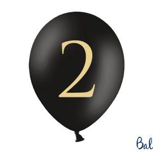 """Μπαλόνι Μαύρο Παστέλ """"2"""" Χρυσό 1τεμ. 30εκ."""