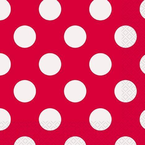 Χαρτοπετσέτες κόκκινες πουά 16τεμ.
