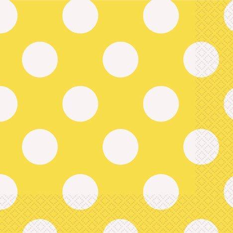 Χαρτοπετσέτες κίτρινες πουά 16τεμ.