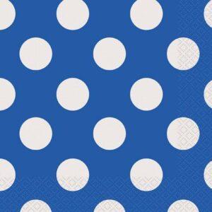 Χαρτοπετσέτες μπλε πουά 16τεμ.